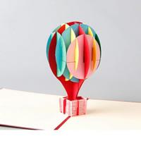 бумага 3D открытка, Hot Balloon, 3D-эффект, красный, 130x150mm, 10ПК/Лот, продается Лот