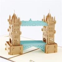 бумага 3D открытка, здание, 3D-эффект, Коричневый, 150x150mm, 10ПК/Лот, продается Лот