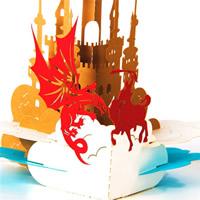 бумага 3D открытка, 3D-эффект, Золотой, 127x146mm, 5ПК/Лот, продается Лот