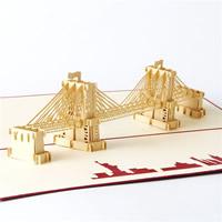 бумага 3D открытка, здание, 3D-эффект, красный, 140x300mm, 5ПК/Лот, продается Лот