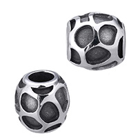 Stainless Steel European Beads Drum without troll   blacken 10.50x10mm Hole:Approx 5mm 5PCs/Lot