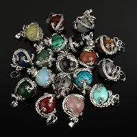 Gemstone Pendants Jewelry, Brass, with Gemstone, Dragon, platinum color plated, natural & different materials for choice, nickel, lead & cadmium free, 22x25.50x18mm, Hole:Approx 5x8mm, Sold By PC