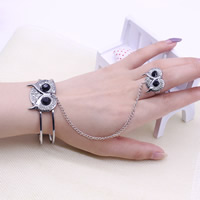 Zinc Alloy Bracelet Ring Owl antique silver color plated with rhinestone lead   cadmium free 17mm 60mm Inner Diameter:Approx 60mm US Ring Size:6.5 Length:Approx 7 Inch