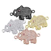 Cubic Zirconia Micro Pave Brass Connector Elephant plated micro pave cubic zirconia   1/1 loop nickel lead   cadmium free 24.50x15.50x2mm Hole:Approx 1.5mm 10PCs/Lot