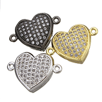 Cubic Zirconia Micro Pave Brass Connector Heart plated micro pave cubic zirconia   1/1 loop nickel lead   cadmium free 17.50x12x5.50mm Hole:Approx 1.5mm 10PCs/Lot