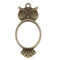 Klaring sieraden Hangers, Zinc Alloy, Uil, antiek brons plated, lood en cadmium vrij, 20x47x4mm, Gat:Ca 2.5mm, 500pC's/Bag, Verkocht door Bag