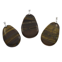 Natural Tiger Eye Pendants, with iron bail, Teardrop, platinum color plated, 35x53x7mm-40x58x8mm, Hole:Approx 3x5mm, 10PCs/Bag, Sold By Bag