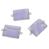 Sodalite Connector, with Iron, Rectangle, platinum color plated, 1/1 loop, 34x19x6mm-36x21x7mm, Hole:Approx 2mm, 10PCs/Bag, Sold By Bag