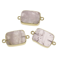 Rose Quartz Connector, with Iron, Rectangle, gold color plated, natural & 1/1 loop, 28x14x7mm-30x16x8mm, Hole:Approx 2mm, 10PCs/Bag, Sold By Bag