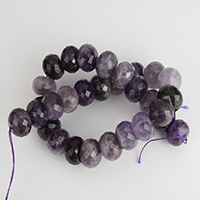 Natural Amethyst Beads, Rondelle, February Birthstone & faceted, 14x19mm, Hole:Approx 1mm, Approx 30PCs/Strand, Sold Per Approx 16 Inch Strand