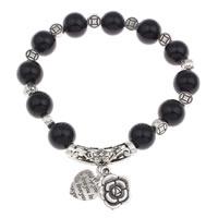 Акриловые браслеты, цинковый сплав, с Акрил, плакированный цветом под старое серебро, не содержит свинец и кадмий, Продан через Приблизительно 6 дюймовый Strand