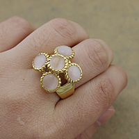 Gemstone Stainless Steel Finger Ring with Cats Eye gold color plated hollow 20.50mm US Ring Size:8 10PCs/Lot