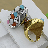 Gemstone Stainless Steel Finger Ring with Cats Eye   Crystal plated faceted   with rhinestone 32mm US Ring Size:8 10PCs/Lot