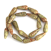 Natural Unakite Beads, Teardrop, 22x9x8mm, Hole:Approx 1mm, Length:Approx 15.5 Inch, 10Strands/Lot, Approx 18PCs/Strand, Sold By Lot
