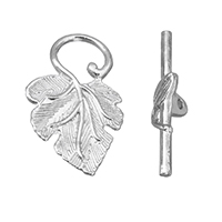 Brass Toggle Clasp, Leaf, platinum color plated, nickel, lead & cadmium free, 22x36.5x5.5mm, 7x30mm, Hole:Approx 2mm, 50Sets/Lot, Sold By Lot