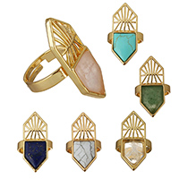 Латунь Открыть палец кольцо, с Полудрагоценный камень, плакирован золотом, природный & различные материалы для выбора & регулируемый, не содержит никель, свинец, 14.50x36x3mm, размер:9, 10ПК/Лот, продается Лот