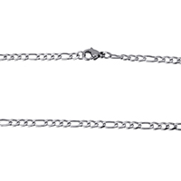 Stainless Steel Chain Necklace figaro chain original color 6x3x1mm 4.5x3x1mm Length:Approx 18 Inch 10Strands/Lot