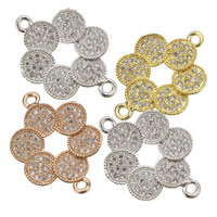 Cubic Zirconia Micro Pave Brass Connector Flower plated with 925 logo   micro pave cubic zirconia   1/1 loop nickel lead   cadmium free 23.50x16.50x2mm Hole:Approx 2mm 10PCs/Lot
