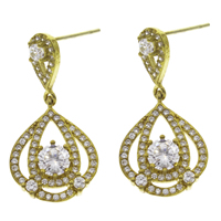 Cubic Zirconia Micro Pave Brass Earring, Teardrop, micro pave cubic zirconia, original color, nickel, lead & cadmium free, 14x27x3.50mm, 10Pairs/Bag, Sold By Bag