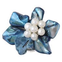 Shell Box Clasp, with Cultured Freshwater Nucleated Pearl & Brass, Flower, platinum color plated, 3-strand, 48x20mm, Hole:Approx 1.5mm, Sold By PC