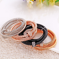 Zinc Alloy Bracelet Set plated with rhinestone nickel lead   cadmium free 7x15mm Length:Approx 7.5 Inch 3Strands/Set