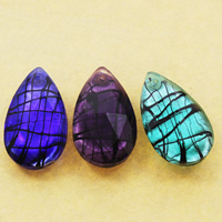 Silver Foil Lampwork Pendants, Teardrop, handmade, faceted, more colors for choice, 22x37x12mm, Hole:Approx 1mm, 10PCs/Bag, Sold By Bag