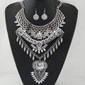 Мода себе ожерелье, серьги & ожерелье, цинковый сплав, с канифоль, плакированный цветом под старое серебро, не содержит свинец и кадмий, 400mm, длина:Приблизительно 15.75 дюймовый, продается указан