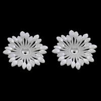 ABS пластик жемчужина колпачок, Форма цветка, белый, 47x8mm, отверстие:Приблизительно 1mm, Приблизительно 180ПК/сумка, продается сумка