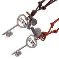 Шнур из натуральной кожи Свитер ожерелье, с цинковый сплав, Ключ, слова любви, Другое покрытие, регулируемый & с письмо узором, Много цветов для выбора, не содержит никель, свинец, 30x80mm, длина:Приблизительно 30.7 дюймовый, 2пряди/Лот, продается Лот