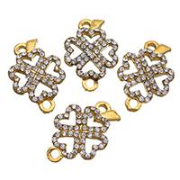 Stop cynkowy Clover złącza, Stop cynku, Czterolistna Koniczyna, Platerowane w kolorze złota, z kamieniem & kółko1/1, bez zawartości niklu, ołowiu i kadmu, 15x22x4mm, otwór:około 2.5mm, 50komputery/wiele, sprzedane przez wiele