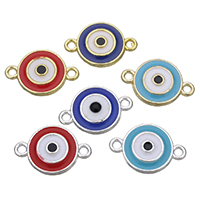 Evil Eye Connector, Zinc Alloy, plated, enamel & 1/1 loop, more colors for choice, nickel, lead & cadmium free, 18x12x2mm, Hole:Approx 1.5mm, 200PCs/Lot, Sold By Lot