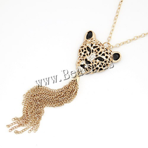 Buy Zinc Alloy Sweater Necklace Leopard gold color plated enamel & rhinestone lead & cadmium free 750x150x38mm Sold Per Approx 29.53 Inch Strand