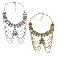 Мода себе ожерелье, цинковый сплав, с нейлон & Синтетическая бирюза & Стеклянный бисер, с 2.7lnch наполнитель цепи, Другое покрытие, Роло цепь & со стразами & чернеют, Много цветов для выбора, 80mm, длина:Приблизительно 17.3 дюймовый, 5пряди/Лот, продается Лот
