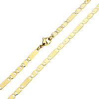 Stainless Steel Chain Necklace, word Jesus, gold color plated, figaro chain, 12.5x2.5x0.5mm, 8x2.5x0.5mm, Sold Per Approx 22 Inch Strand