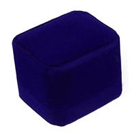 Бархат Коробочка для одного кольца, с Клей Фильм, Прямоугольная форма, голубой, 51x59x48mm, 30ПК/Лот, продается Лот