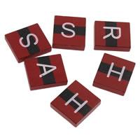 Древесина кабошоны, деревянный, Прямоугольная форма, смешанная картина & с письмо узором & плоской задней панелью, красный, 17x20x4mm, 1000ПК/сумка, продается сумка
