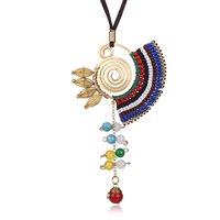 Zinc Alloy Sweater Chain Necklace, with Velveteen Cord & Dyed Jade & Nylon Cord, gold color plated, Bohemian style, nickel, lead & cadmium free, 61x120mm, Length:Approx 31.5 Inch, 5Strands/Lot, Sold By Lot