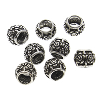 925 Sterling Silver European Beads, Drum, without troll & blacken, 7x6mm, Hole:Approx 4mm, 10PCs/Bag, Sold By Bag