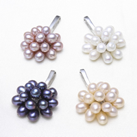 Freshwater Pearl Pendants with Brass Flower platinum color plated 4-5mm 22x30x11mm Hole:Approx 2x7mm