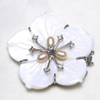 Shell Box Clasp, Brass, with White Shell & Freshwater Pearl, Flower, platinum color plated, natural & 3-strand & with rhinestone, nickel, lead & cadmium free, 50x13mm, Hole:Approx 2mm, Sold By PC