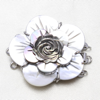 Brass Box Clasp, with Black Shell, Flower, platinum color plated, natural & 3-strand, nickel, lead & cadmium free, 38x34x9mm, Hole:Approx 2mm, Sold By PC