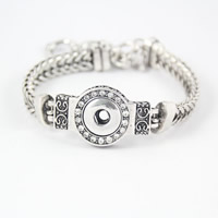 Chunk Button Bracelet, Zinc Alloy, with brass chain, Flat Round, platinum color plated, wheat chain & with rhinestone & blacken, lead & cadmium free, 21.5cm, Inner Diameter:Approx 6mm, Length:Approx 8 Inch, 6Strands/Bag, Sold By Bag