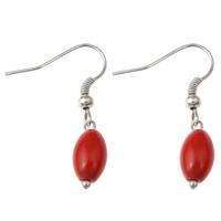 Натуральный коралл Сережка, железо крюк, Платиновое покрытие платиновым цвет, природный, красный, 7x29mm, 10Пары/сумка, продается сумка
