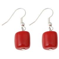 Натуральный коралл Сережка, железо крюк, Платиновое покрытие платиновым цвет, природный, красный, 11x32mm, 10Пары/сумка, продается сумка