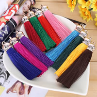Decorative Tassel, Polyester, with Copper Coated Plastic, rose gold color plated, more colors for choice, 80mm, Hole:Approx 2mm, 10PCs/Lot, Sold By Lot