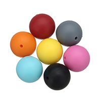 Силиконовые шарики, Силикон, Круглая, Одобрение FDA, Много цветов для выбора, 20mm, отверстие:Приблизительно 2mm, 50ПК/сумка, продается сумка