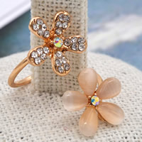 Cats Eye Finger Ring Zinc Alloy with Cats Eye Flower gold color plated with rhinestone lead   cadmium free 28mm US Ring Size:6.5