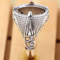 Thailand Sterling Silver Bezel Ring Base adjustable 18mm Inner Diameter:Approx 11.5x15.5mm US Ring Size:7 3PCs/Bag