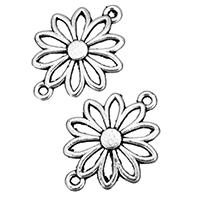 Цветок цинкового сплава разъем, цинковый сплав, Форма цветка, плакированный цветом под старое серебро, 1/1 петля & отверстие, не содержит никель, свинец, 25x19x1.50mm, отверстие:Приблизительно 2mm, 1000ПК/сумка, продается сумка
