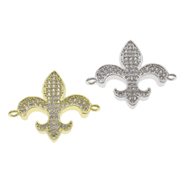 Cubic Zirconia Micro Pave Brass Connector Fleur-de-lis plated micro pave cubic zirconia   1/1 loop nickel lead   cadmium free 27x24x3mm Hole:Approx 1mm 10PCs/Bag
